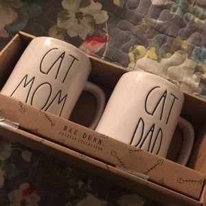 Rae dunn cat mom & dad mugs NWT